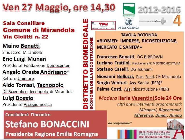 Distretto Biomedicale - Economia della ricostruzione - Mirandola 27-5